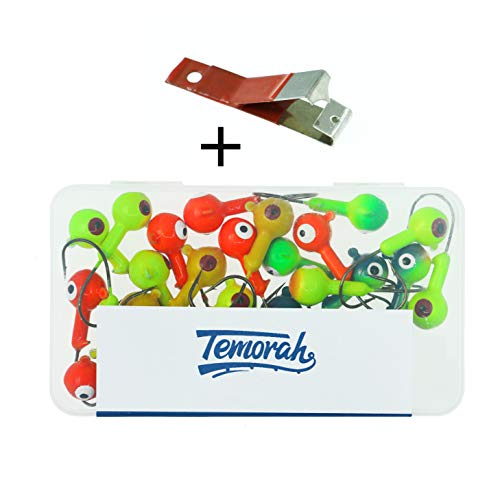 (Temorah Fishing Lures Jig Heads Assorted,Round Lead Ball Head Jigs with Barb Lazer Sharp Fishing Hooks.(Assorted, 3/8 OZ)