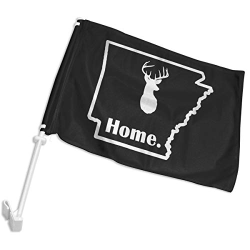 YAKA Arkansas Deer Home Car Window Flags Party Flags with Flag Pole Decorative Flags -