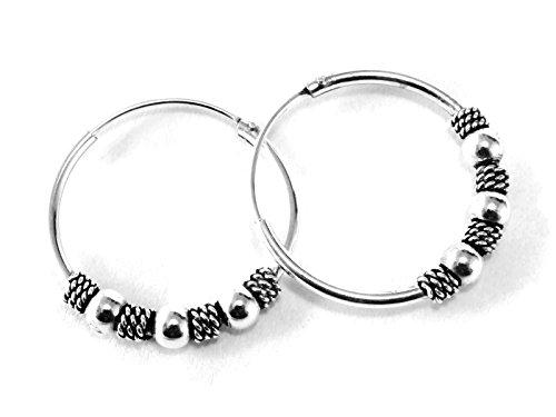 925 Silver Bali Tribal Fashion Earring Hoops Accesssories Women / Men 11/16
