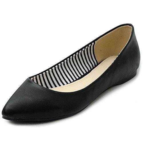 Ollio Womens Ballets Shoe Comforts Basic Light Multi Colors Flats M1040 (9 B(M) US, Black)