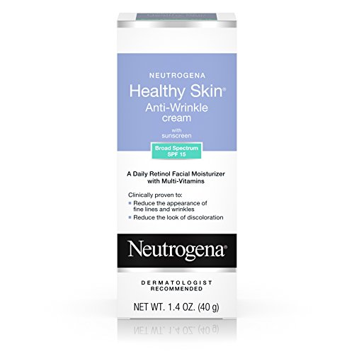 - Neutrogena Healthy Skin Anti-Wrinkle Cream with Retinol & SPF 15 Sunscreen, Oil-Free Moisturizer with Vitamin E, Vitamin B5 & Vitamin A, Hypoallergenic & Fragrance-Free, 1.4 oz