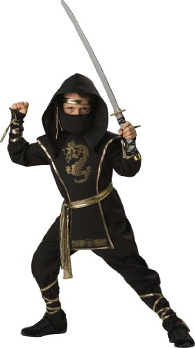 (In Character Costumes, LLC Boys 8-20 Ninja Warrior Shirt and Pant Set, Black,)