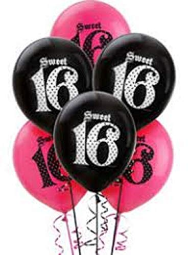 (FCS Sweet 16 Balloons 5 Pink and 5 Black)