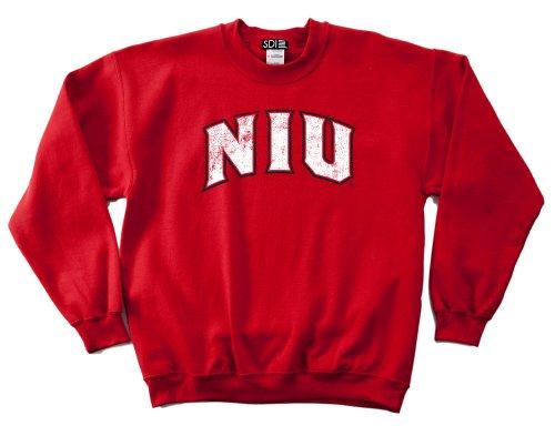 NCAA Northern Illinois Huskies 50/50 Blended 8-Ounce Vintage Arch Crewneck Sweatshirt, Large, Red