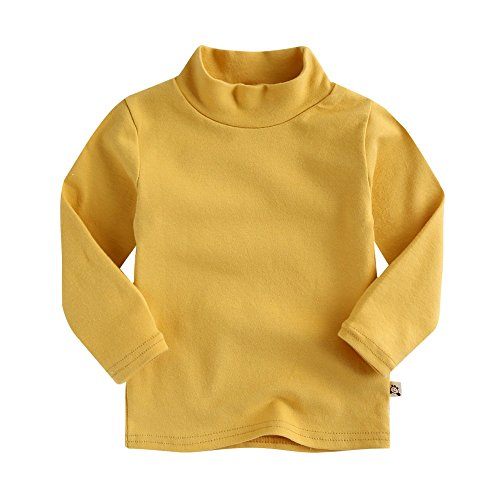 Agibaby Boys & Girls Infant & Toddler Long Sleeve Turtleneck T-Shirt (S(12-24months), Mustard)