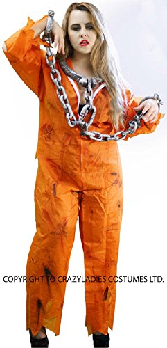Halloween-Creepy-Scary-Convict-Zombie (4) ORANGE PRISONER BOILER SUIT, SHACKLES, BLOOD & MAKEUP - One Size Only.