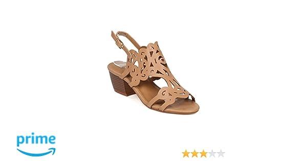 a3b99370145 Amazon.com | Women Leatherette Peep Toe Perforated Chunky Heel ...