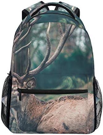 野生のエルク鹿カジュアルバッグ リュック リュック ショルダーバッグ 流行 おしゃれ 人気 ラップトップバッグ こども 通勤 通学