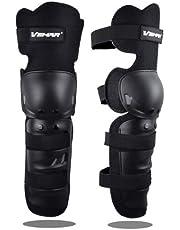 Wonzone 1 Pair Motorcycle Knee Pads Protector Antislip Knee Cap Calf Shin Guards Long Leg Sleeve Adjustable Armor for Adult Motocross Racing Cycling Mountain Bike (Black)
