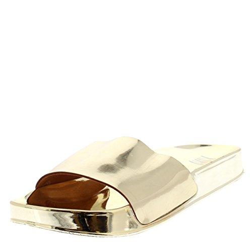 Cursori Scivolare Moda Oro Donna Piatto Estate Scarpe Specchio Su Metallico Viva wXaqxSw8