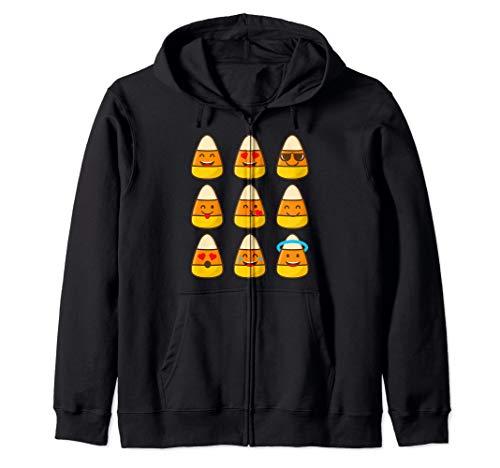 Candy Corn Emojis Halloween Art Cool Funny Emoticons Gift Zip Hoodie -