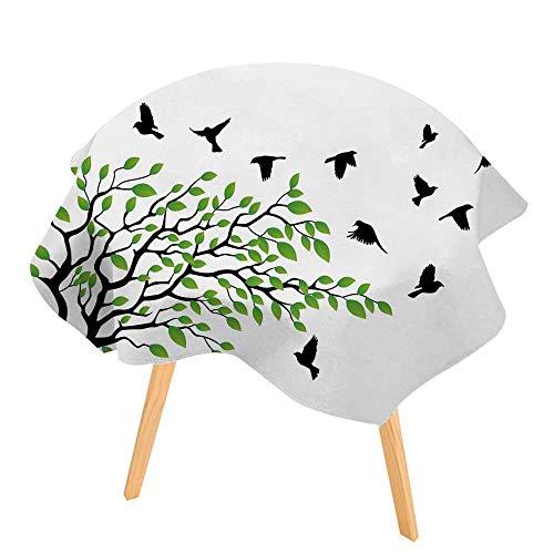 PINAFORE Circular Solid Polyester Tablecloth Arbre Silhouette avec un oiseau en vol for Wedding Restaurant Buffet Table Decoration 71