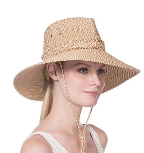 Eric Javits Luxury Fashion Designer Women's Headwear Hat - Voyager - Peanut - Eric Javits Straw Cap