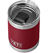 YETI Rambler 10 oz Lowball, Vacuum Insulated, Stainless Steel with MagSlider Lid, Harvest Red