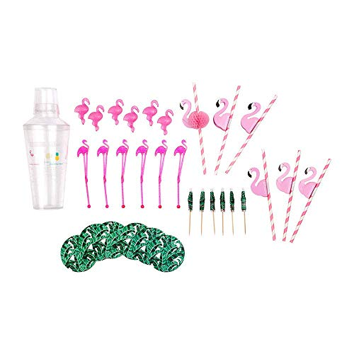 Plastic Barware Set, Making Set with Cocktail Shaker, Reusable Ice Cubes and Stirrers, Flamingo Paper Straws, Rainforest Coaster, Acrylic Clear, for Your Party time