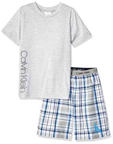 Calvin Klein Boys' Little 2 Piece Sleepwear Top and Bottom Pajama Set Pj, Heather Grey, ck Cloud Plaid, L -
