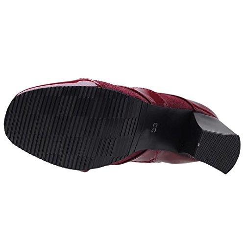 AIYOUMEI Damen Winter Lack Blockabsatz Stiefeletten mit 8cm Absatz Modern Elegant Stiefel Schuhe Rot