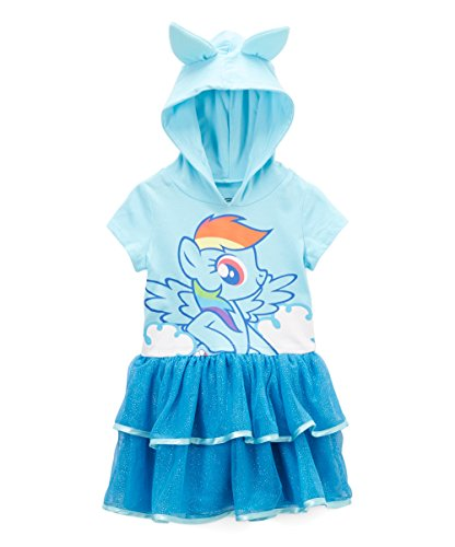 My Little Pony Rainbow Dash Toddler Girls' Costume Ruffle Dress, Light Blue, 4T