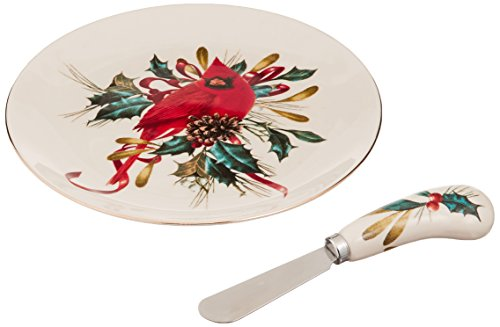 - Lenox Winter Greetings Cheese Plate with Knife, Ivory