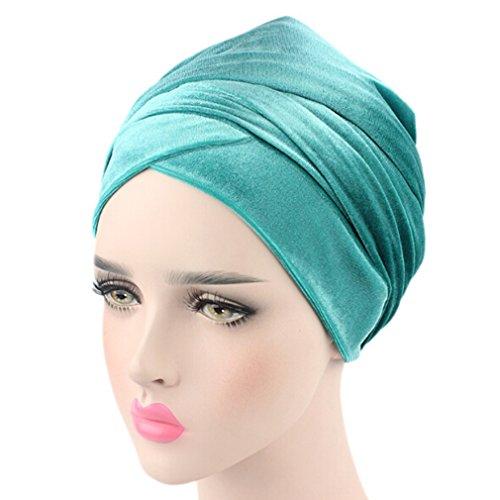 Price comparison product image SONG LIN Blue Green Womens Velvet Turban Muslim Hijab Headband Hair Accessory