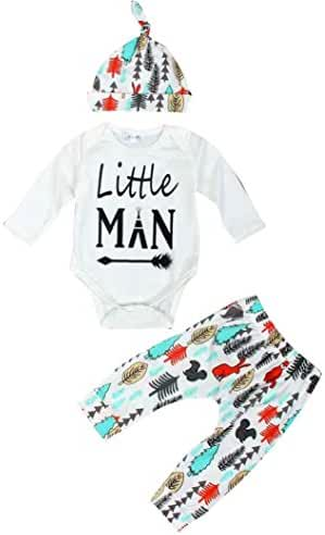 FEITONG Newborn Infant Baby Boy's Long Sleeve Tops +Long Pants +Hat (0-3 Months)