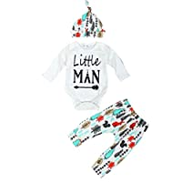 FEITONG Newborn Infant Baby Boy's Long Sleeve Tops +Long Pants +Hat (3-6 Mont...