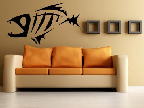 Cool Fish Skeleton Fishing Hobby Ocean Sea Marine Animal Tribal Design Wall Mural Vinyl Decal Sticker M197