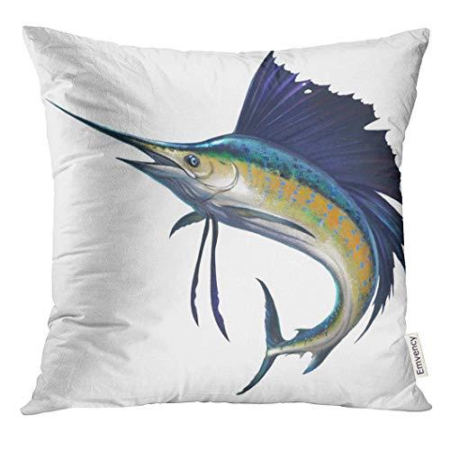 Blue Marlin Pillow - UPOOS Throw Pillow Cover Blue Marlin Sailfish on White Black Atlantic Fish Decorative Pillow Case Home Decor Square 18x18 Inches Pillowcase