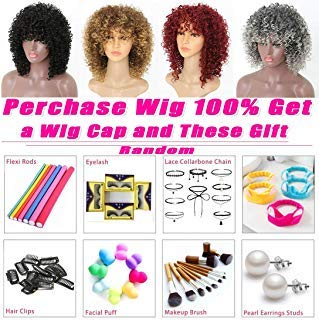 Wig Blonde Golden Hair - Curly Wigs Blonde Color New Fashion MIX Brown and Blonde Afro Kinky Curly Wigs for Women and Girls Cosplay Golden Blonde and Brown Wigs Very Natural Hair Wig Feel Same with Human Hair Extensions