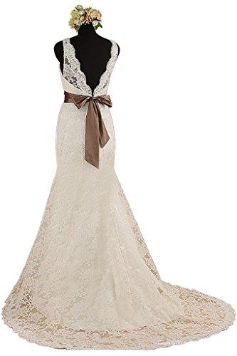 Gorgeous Bride Elegant Meerjungfrau Lang Satin Tuell Spitze ...