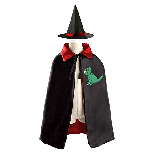 Triceratops Halloween Costume Cloak Cape Wizard Hat Cosplay Red For Kids Boys Girls