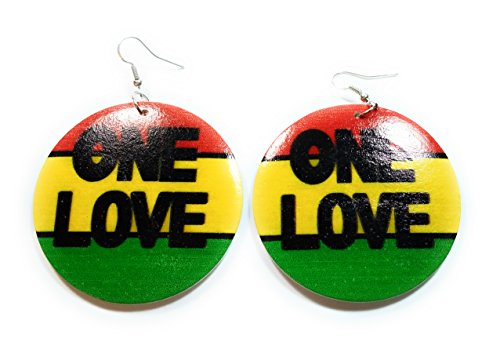 Teris Boutique Rasta Africa One Love Circle Wood Wooden Light Weight Fashion Earrings