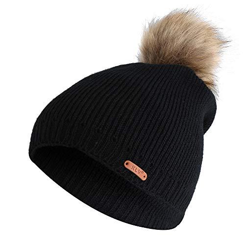 ZOMUSAR Baggy Warm Crochet Winter Wool Knit Ski Beanie Skull Slouchy Caps Hat for Men Women (Black) (Womens Kangol Cloche Hats)