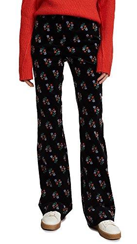 Sonia Rykiel Women's Floral Flared Pants, Black Multi, 38 Floral Corduroy Pants