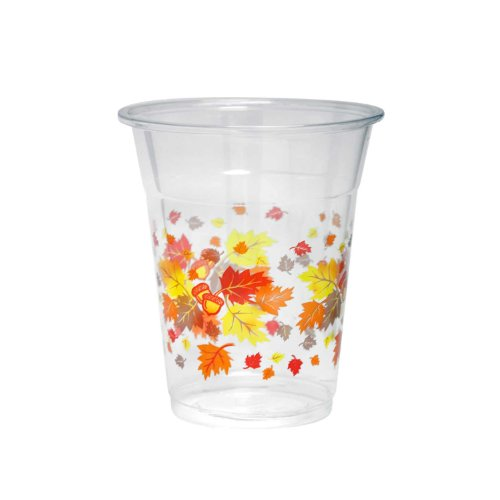 Party Essentials Soft Plastic Printed Party Cups, 12-Ounce, Autumn Leaves, (Printed Plastic Cups)