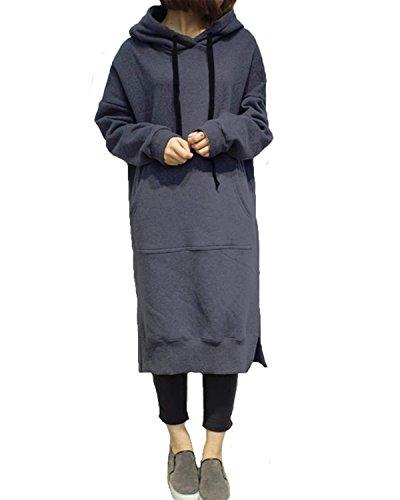 かんがい制約池StyleDome レディース 長袖 パーカー ロング 裏起毛 厚手 フード付き 黑 大きいサイズ(S-3XL) 体型カバー