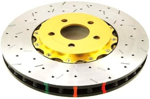 5000 Series 2-Piece Drilled and Slotted Disc Brake Rotor with Gold Hat 5654GLDXS-10 Front DBA