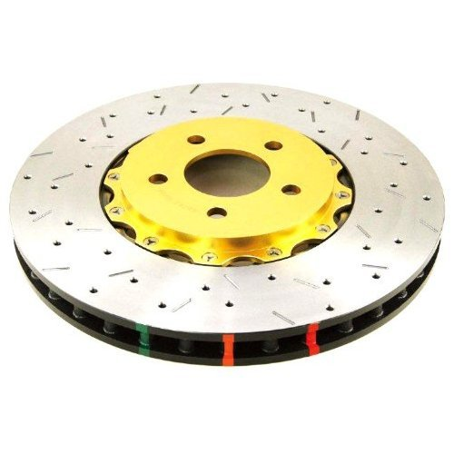 () 5000 Series 2-Piece Drilled and Slotted Disc Brake Rotor with Black Hat, Front - DBA 52604BLKXS