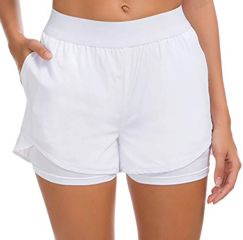 Custer's Night Women's Running Short Workout Athletic Jogging Shorts 2-in-1 White L ()