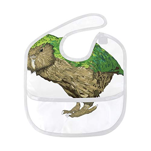 Kakapo New Zealand Bird Baby Pocket Feeding Bibs Toddler Drool ()