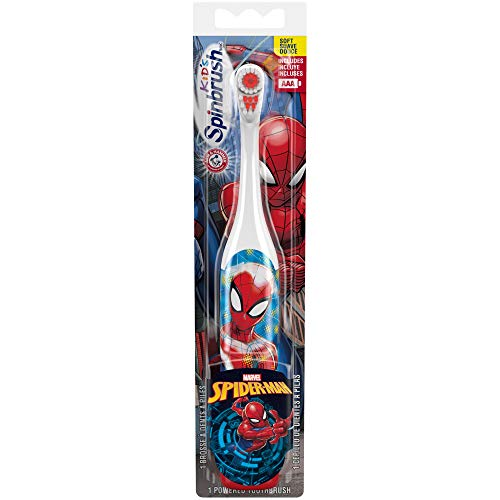 Arm & Hammer Kid's Spinbrush Spiderman Powered Toothbrush, 1 Count (Kids Toothbrushes Marvel)
