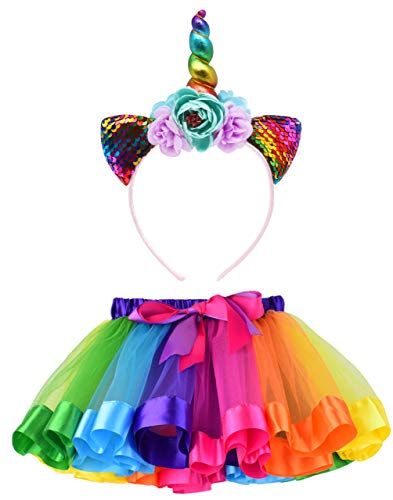 LYLKD Little Girls Layered Rainbow Tutu Skirts with Unicorn Horn Headband (U-Rainbow, L,4-8 Years) -