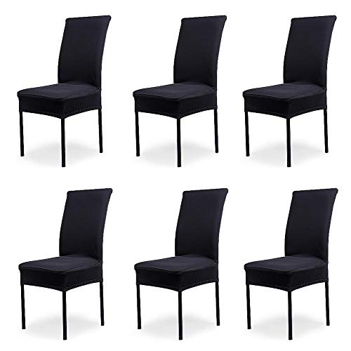 iversal Stretch Covers, Removable Washable Slipcovers for Dining Room Chairs 6 Pcs/Pack (Classical Black) ()