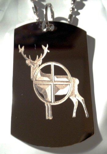 Tag Deer - Hunt Hunting Deer Buck Shot Gun Scope Logo Symbols - Military Dog Tag Luggage Tag Key Chain Metal Chain Necklace