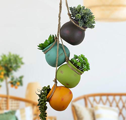 Best Pottery Hanging Succulent Planters | Multicolor Ceramic 4 Pot Set | Ceiling & Wall Planter | Air Pots for Plants, Flowers & Cactus | Perfect Decoration for Indoor Outdoor | Unique Gift Idea ()