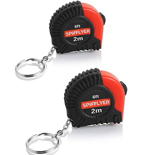 Spifllyer 2 Pack Samll Key Chain Mini Tape Measure Retractable Measuring Tape 2M 6Ft Metric And Inch Scale With Keychain For Kids Toy Tools Double Colored Pvc Coated
