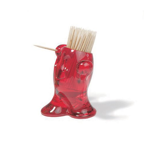 koziol PIC'NIX Toothprick Holder, transparent red by Koziol