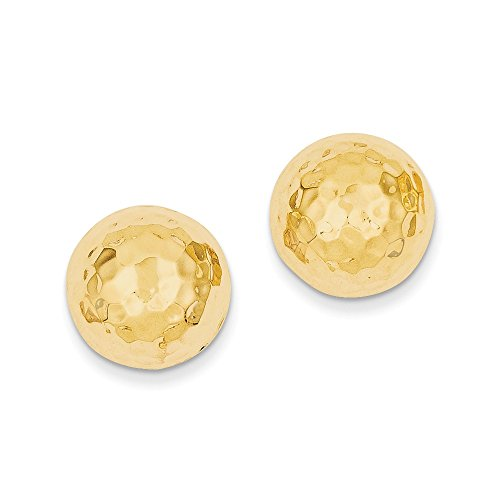 14k Yellow Gold Hammered Half Ball Post Earrings by Goldia