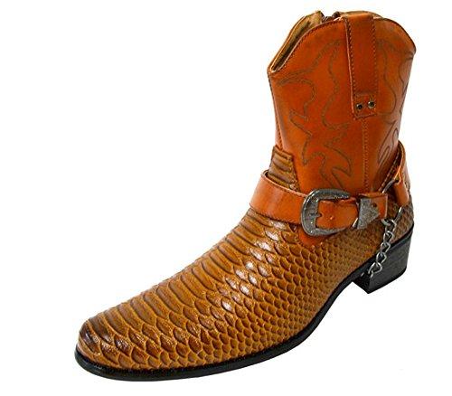 ... Alberto Fellini Menns Faux Skinn Cowboy Western-inspirert Biker  Ankelstøvletter Spiss Tå (japan) ...