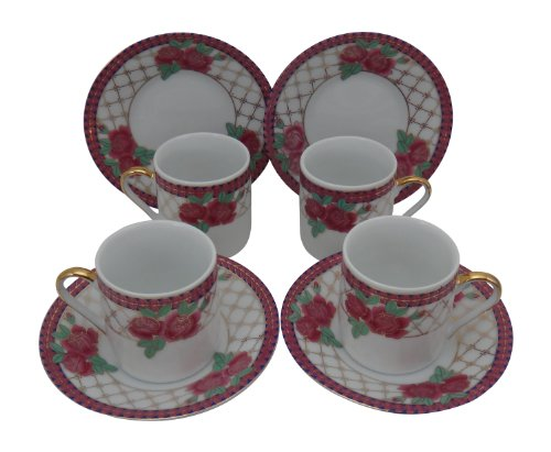 Holsted House Demitasse Cup with Saucer, Pink Rose Pattern with Gold Trim Porcelain Espresso (4)